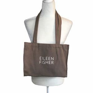 Eileen Fisher Brown Canvas Tote Bag Purse